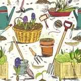 Seamless gardening tools pattern background Stock Photography