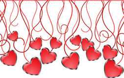 Seamless garland. Of glossy hearts on sinuous thread Stock Photos
