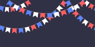 Seamless garland with celebration flags chain, white, blue, red pennons on dark background, footer and banner for decoration. Seamless garland with celebration Royalty Free Stock Photos