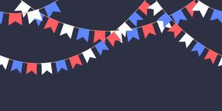 Seamless garland with celebration flags chain, white, blue, red pennons on dark background, footer and banner for decoration. Seamless garland with celebration Royalty Free Stock Photography