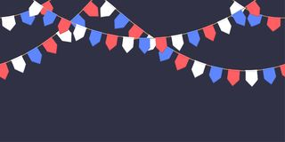Seamless garland with celebration flags chain, white, blue, red pennons on dark background, footer and banner fireworks. Eps 10 Stock Photography