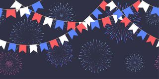 Seamless garland with celebration flags chain, white, blue, red pennons and salute on dark background, footer and banner fireworks. Seamless garland with Stock Photos