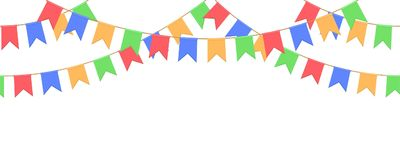 Seamless garland with celebration flags chain, yellow, blue, red, green pennons on white background, footer and banner for decorat. Seamless garland with Royalty Free Stock Images