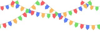 Seamless garland with celebration flags chain, yellow, blue, red, green pennons on white background, footer and banner. For decoration, eps 10 Royalty Free Stock Photos