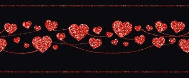 Seamless garlands of red hearts. Vector illustration vector illustration