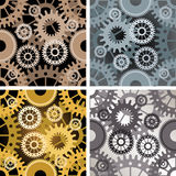 Seamless gear pattern. Set of four seamless gear patterns drawn in different color variations. Each variation contains separate background Royalty Free Stock Photography