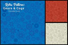 Seamless Gears Cogs Pattern 3 color options. Very patriotic USA red white and blue Royalty Free Stock Photos
