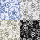 Seamless gears pattern. Set of seamless gear patterns drawn with use technical drawing style painted in four different color variations stock illustration