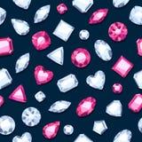 Seamless gemstones pattern on dark. Stock Photo