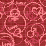 Seamless gender hearts circles on red Royalty Free Stock Image