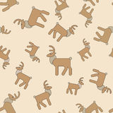 Seamless gentle background from naive drawn elk Royalty Free Stock Image