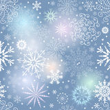 Seamless gentle colorful christmas pattern. With translucent snowflakes, vector eps 10 vector illustration