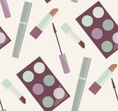 Seamless gentle pattern with makeup, mascara, lipstick, eye shadow Royalty Free Stock Images