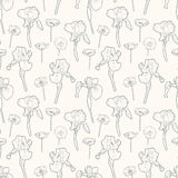 Seamless gentle vintage floral pattern with irises and poppy Royalty Free Stock Images
