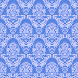 Seamless gently-blue damask Wallpaper for design. Stock Photo