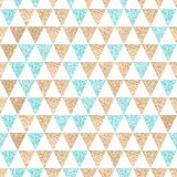 Seamless geometric abstract background. Gold and aquamarine tria Royalty Free Stock Image