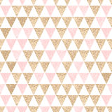 Seamless geometric abstract background. Gold and pink triangles. Stock Photography
