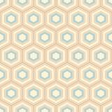 Seamless geometric abstract pattern of color hexagons. Retro colors. Fashion geometrical pattern. For fashion textile, cloth, backgrounds. Vector background stock illustration