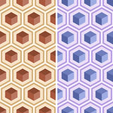 Seamless geometric abstract pattern from colorful hexagons. Set of seamless geometric abstract patterns from colorful hexagons. Retro colors. Fashion Royalty Free Stock Image