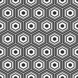 Seamless geometric abstract pattern of hexagons. Fashion geometrical pattern. For fashion textile, cloth, backgrounds. Vector monochrome background Royalty Free Illustration