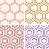 Seamless geometric abstract patterns from colorful hexagons. Set of seamless geometric abstract patterns from colorful hexagons. Retro colors. Fashion Royalty Free Stock Image