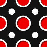 Seamless geometric background. Black and red 3d circle pattern. Vector illustration Stock Photography