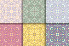 Seamless geometric background. Colored set abstract patterns. Geometric seamless patterns. Collection of colored backgrounds for textile, fabrics or wallpapers Royalty Free Stock Photography