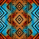 Seamless geometric background. Grunge watercolor texture. Print. For textiles. Ethnic and tribal motifs. Brown, black, blue, yellow and orange colors. Vector Stock Photography
