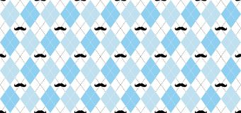 Argyle vector pattern. Light blue and white squares with black mustache and white dotted line.