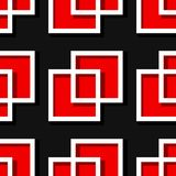 Seamless geometric background with square elements. Black and red 3d pattern. Vector illustration Royalty Free Stock Image