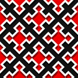 Seamless geometric background with square elements. Black and red 3d pattern. Vector illustration Stock Photography