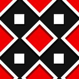 Seamless geometric background with square elements. Black and red 3d pattern. Vector illustration Stock Photos