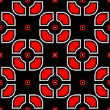 Seamless geometric black background. With red and white elements. For wallpapers, textile and fabrics Stock Images