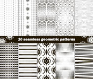 10 seamless geometric black and white patterns. Set of 10 different seamless abstract geometric black and white patterns. Vector illustration for various Stock Images