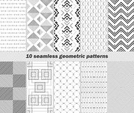 10 seamless geometric black and white patterns. Set of 10 seamless geometric black and white patterns. Vector illustration for various creative projects Stock Photo
