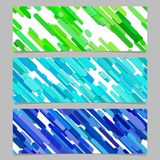 Seamless geometric chaotic diagonal stripe pattern banner template design set - horizontal rectangle vector graphics. Seamless geometric chaotic diagonal stripe Stock Photography