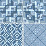 Seamless geometric checked textures set. Royalty Free Stock Photo