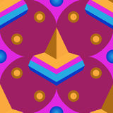 Seamless geometric 3d abstract pattern on purple background. For design, wallpaper, cover invitation, fabric. Vector background Stock Photography