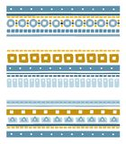 Seamless geometric ethnic stripes with squares, circles and stitches. Stock Photos