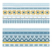 Seamless geometric ethnic stripes with squares, triangles and zigzags. Royalty Free Stock Photo