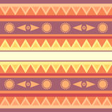 Seamless geometric ethnic texture with sun Royalty Free Stock Images