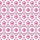 Seamless geometric floral background pattern pink white royalty free illustration