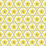 Seamless geometric floral background pattern yellow white stock illustration