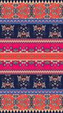 Seamless geometric and floral ethnic pattern. Bright colored structure. Vector image Royalty Free Stock Photography