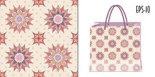 Seamless geometric floral pattern and packing mockup Stock Images