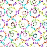Seamless geometric flower pattern vector design background art circles with leaves covers flower shapes. Vintage retro Royalty Free Stock Images