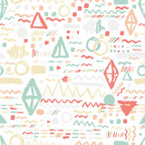 Seamless geometric hand drawn pattern in retro style, memphis. Can be used for fabric design, paper print and website Royalty Free Stock Image