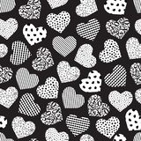 Seamless geometric heart. Pattern of different textures. Monochrome abstract background-vector illustration vector illustration