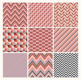 Seamless geometric hipster background set. Stock Image