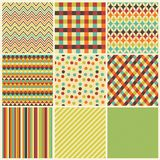 Seamless geometric hipster background set. Stock Image
